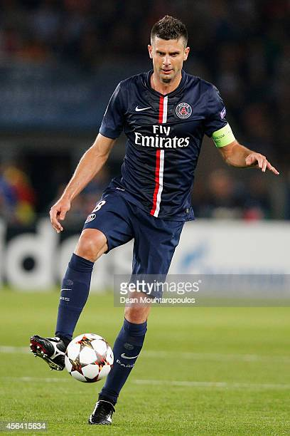 Thiago Motta of PSG in action during the Group F UEFA Champions League match between Paris SaintGermain v FC Barcelona held at Parc des Princes on...