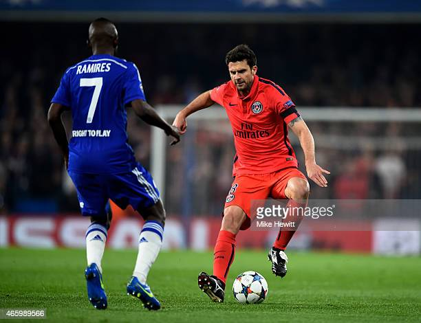 Thiago Motta of PSG is challenged by Ramires of Chelsea during the UEFA Champions League Round of 16 second leg match between Chelsea and Paris...
