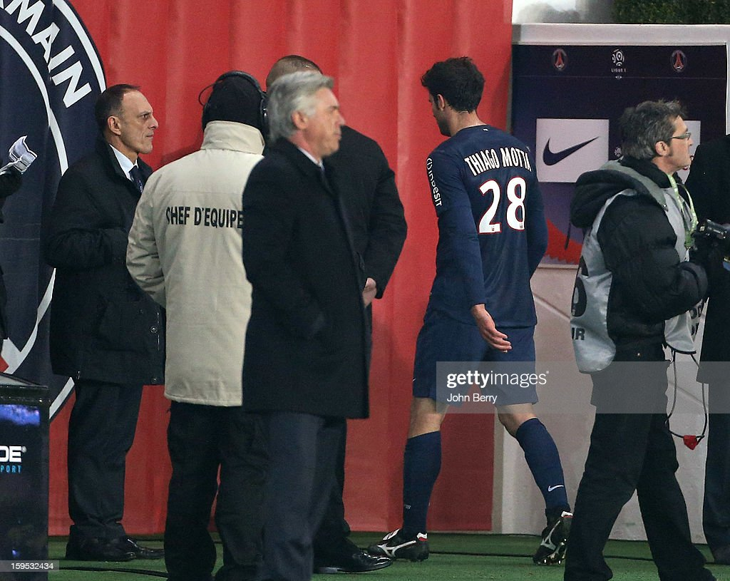 Thiago Motta of PSG leaves the field after getting a red card during the French Ligue 1 match between Paris Saint Germain FC and AC Ajaccio at the Parc des Princes stadium on January 11, 2013 in Paris, France.