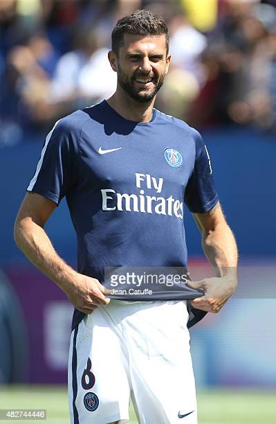 Thiago Motta of PSG smiles before the 2015 Trophee des Champions between Paris SaintGermain and Olympique Lyonnais at Stade Saputo on August 1 2015...