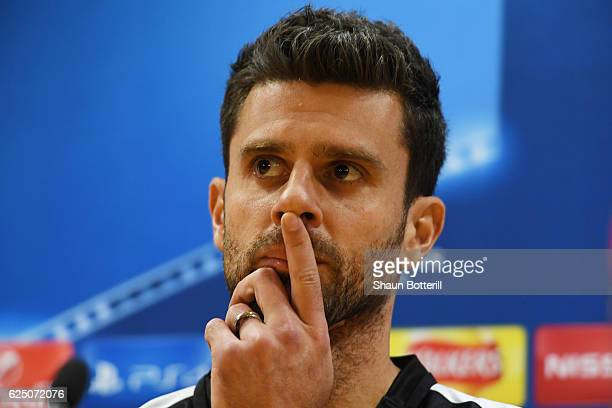 Thiago Motta of PSG speaks to the media during the Paris SaintGermain press conference at the Emirates Stadium on November 22 2016 in London England