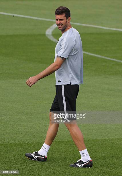 Thiago Motta of PSG warms up during a practice session at the Paris SaintGermain Ooredoo Training Camp on August 7 2014 in SaintGermainenLaye France