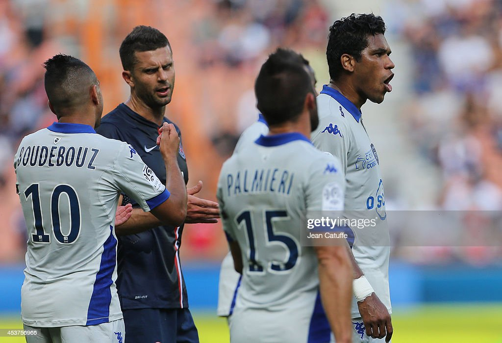 <a gi-track='captionPersonalityLinkClicked' href=/galleries/search?phrase=Thiago+Motta+-+Brazilian+Soccer+Player+-+Born+1982&family=editorial&specificpeople=631059 ng-click='$event.stopPropagation()'>Thiago Motta</a> of PSG watches Brandao of Bastia reacting during the French Ligue 1 match between Paris Saint Germain FC and SC Bastia at Parc des Princes stadium on August 16, 2014 in Paris, France.