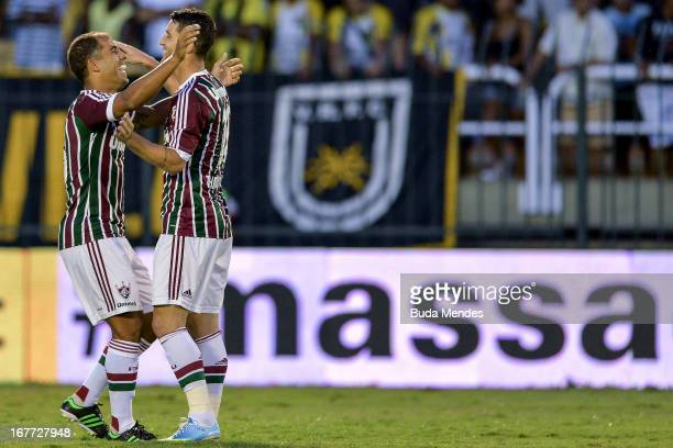 Thiago Neves and Felipe of Fluminense celebrate a scored goal during the match between Fluminense and Volta Redonda as part of Rio State Championship...