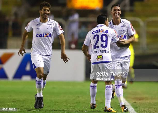 Thiago Neves and Lucas Romero of Cruzeiro celebrate a scored goal during a match between Vasco da Gama and Cruzeiro as part of Brasileirao Series A...