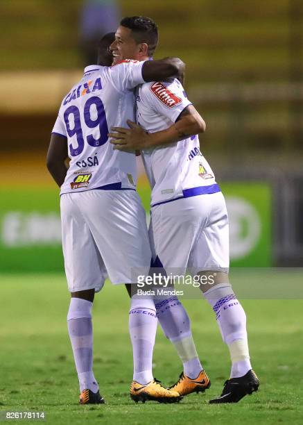 Thiago Neves and Sassa of Cruzeiro celebrate a scored goal during a match between Vasco da Gama and Cruzeiro as part of Brasileirao Series A 2017 at...