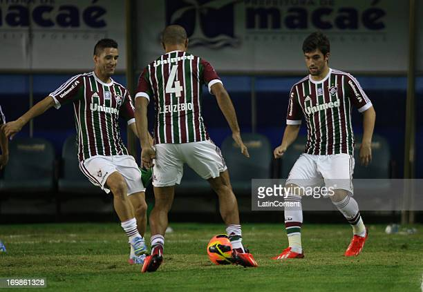 Thiago Neves Leandro Euzebio and Fabio Braga of Fluminense during the match between Fluminense and Criciuma as part of Brazilian Championship 2013 at...