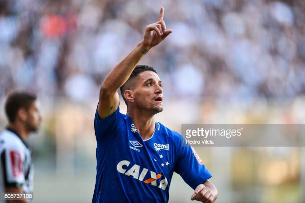 Thiago Neves of Cruzeiro celebrates a scored goal against Atletico MG during a match between Atletico MG and Cruzeiro as part of Brasileirao Series A...