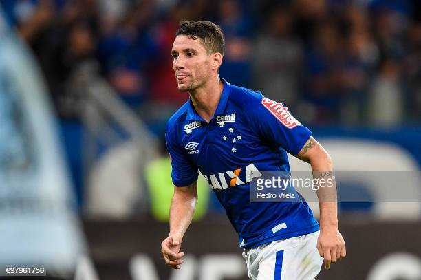 Thiago Neves of Cruzeiro celebrates a scored goal against Gremio during a match between Cruzeiro and Gremio as part of Brasileirao Series A 2017 at...