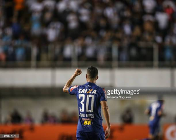 Thiago Neves of Cruzeiro celebrates his goal during the match between Santos and Cruzeiro as a part of Campeonato Brasileiro 2017 at Vila Belmiro...