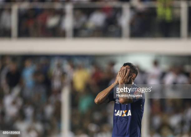 Thiago Neves of Cruzeiro reacts after missing a goal during the match between Santos and Cruzeiro as a part of Campeonato Brasileiro 2017 at Vila...
