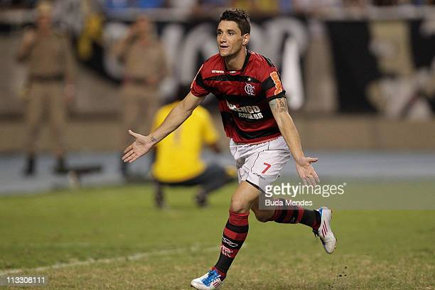 Thiago Neves of Flamengo celebrates the goal of title during a match as part of Rio de Janeiro State Championship 2011 at Engenhao stadium on May 01...