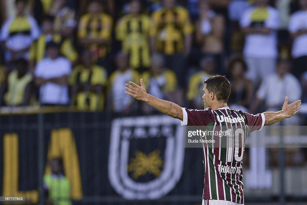 Thiago Neves of Fluminense celebrates a scored goal during the match between Fluminense and Volta Redonda as part of Rio State Championship 2013 at Raulino de Oliveira Stadium on April 28, 2013 in Volta Redonda, Brazil.