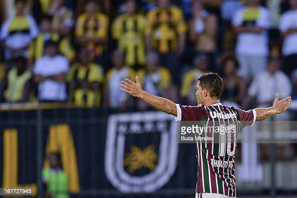 Thiago Neves of Fluminense celebrates a scored goal during the match between Fluminense and Volta Redonda as part of Rio State Championship 2013 at...