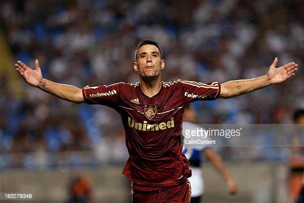 Thiago Neves of Fluminense celebrates during a match between Fluminense and Huachipato as part of Copa Bridgestone Libertadores 2013 at Engenhão...