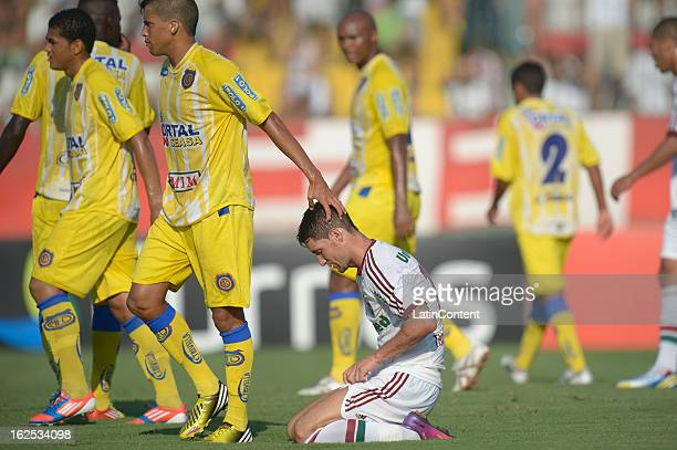 Thiago Neves of Fluminense laments during the match between Fluminense and Madureira as part of the Carioca Championship 2013 at Bonita Stadium on...