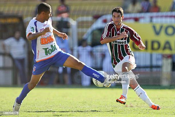 Thiago Neves of Fluminense struggles for the ball during a match between Fluminense v Duque de Caxias as part of the Guanabara Cup at Cidadania...