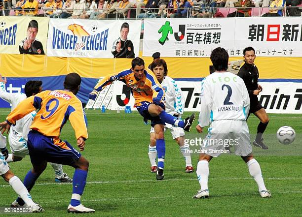 Thiago Neves of Vegalta Sendai shoots at goal during the JLeague second division match between Vegalta Sendai and Yokohama FC at Yurtec Stadium...