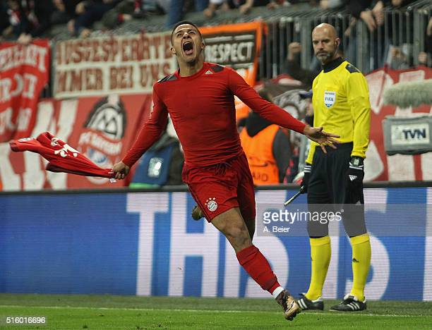 Thiago of Bayern Muenchen celebrates his goal during the Champions League round of 16 second leg match between FC Bayern Muenchen and Juventus Turin...