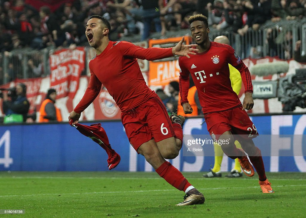 Thiago (L) of Bayern Muenchen celebrates his goal together with his teammate Kingsley Coman during the Champions League round of 16 second leg match between FC Bayern Muenchen and Juventus Turin at Allianz Arena on March 16, 2016 in Munich, Germany.