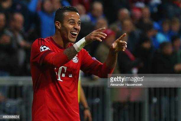 Thiago of Bayern Muenchen reacts during the UEFA Champions League Group F match between FC Bayern Munchen and GNK Dinamo Zagreb at tthe Allianz Arena...