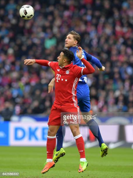 Thiago of FC Bayern Muenchen and Niklas Stark of Hertha BSC during the game between Hertha BSC and FC Bayern Muenchen on February 18 2017 in Berlin...