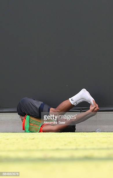 Thiago of FC Bayern Muenchen stretches after a training session at the AUDI Summer Tour USA 2016 on July 29 2016 at Bank of America stadium in...