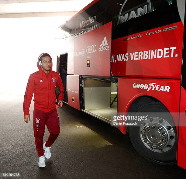 Thiago of Muenchen arrives prior to the Bundesliga match between FC Ausgburg and FC Bayern Muenchen at SGL Arena on February 14 2016 in Augsburg...
