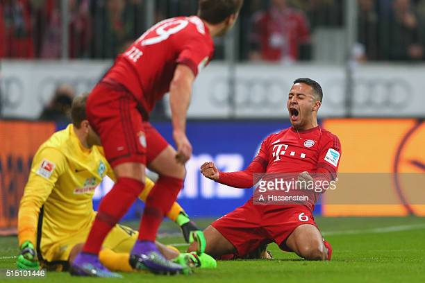 Thiago of Muenchen celebrates scoring the opening goal during the Bundesliga match between FC Bayern Muenchen and SV Werder Bremen at Allianz Arena...