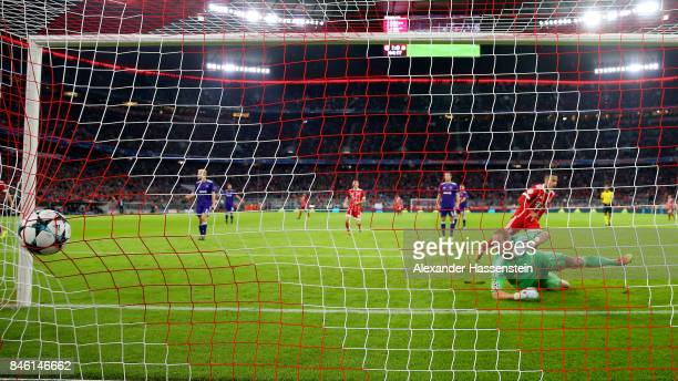 Thiago of Muenchen scores the 2nd goal during the UEFA Champions League group B match between Bayern Muenchen and RSC Anderlecht at Allianz Arena on...
