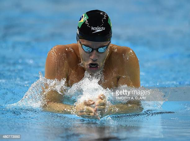 Thiago Pereira from Brazil competes in the Men's 200m Breaststroke preliminaries at the 2015 Pan American Games in Toronto Canada July 15 2015 AFP...