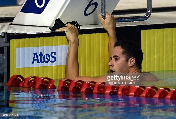 Thiago Pereira from Brazil is disqualified after coming in 1st during the men's 400m Individual Medley Final at the Toronto 2015 Pan American Games...