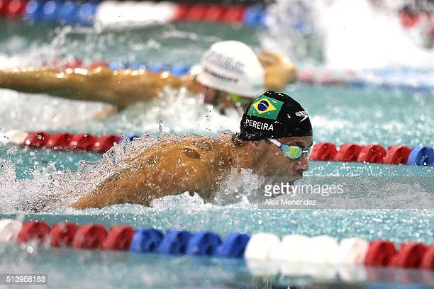 Thiago Pereira of Brazil competes in the men's 200 meter individual medley championship final during day three of the Arena Pro Swim Series at the...