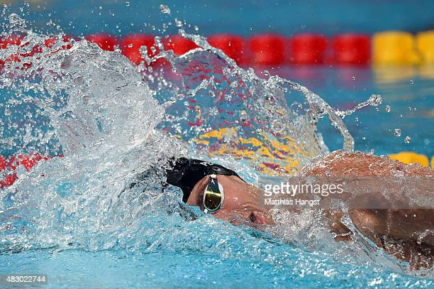 Thiago Pereira of Brazil competes in the Men's 200m Individual Medley SemiFinals on day twelve of the 16th FINA World Championships at the Kazan...