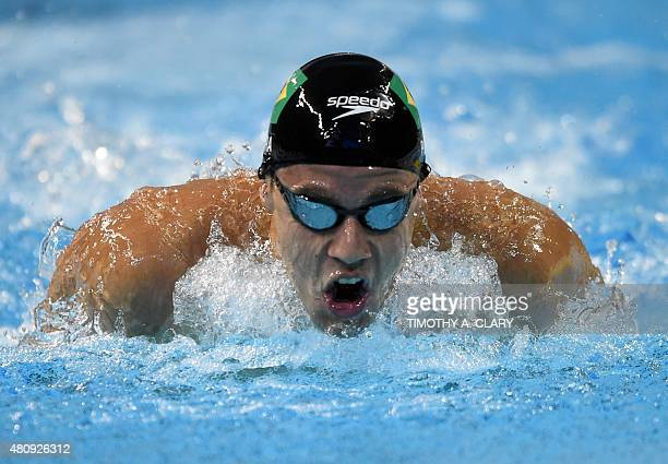 Thiago Pereira of Brazil swims during the Men's 400 Individual Medley Preliminaries at the Toronto 2015 Pan American Games in Toronto Canada July 16...