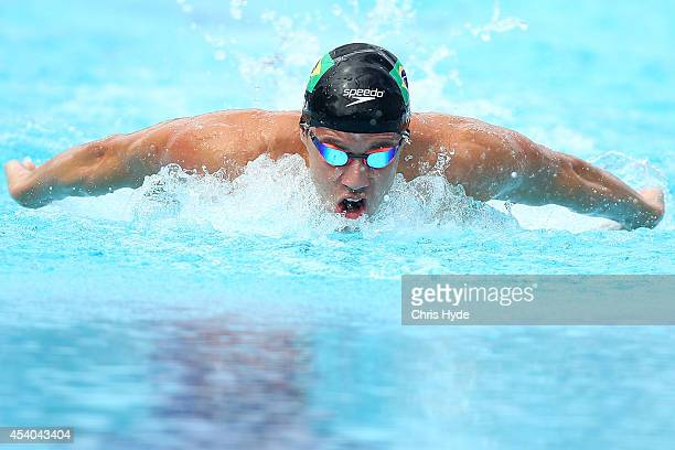 Thiago Pereira of Brazil swims the Men's 200m IM heats during day four of the 2014 Pan Pacific Championships at Gold Coast Aquatics on August 24 2014...