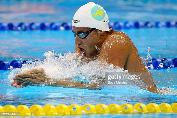 Thiago Pereira of Brazil swims the Men's 200m Medley final during the Maria Lenk Trophy competition at the Aquece Rio Test Event for the Rio 2016...