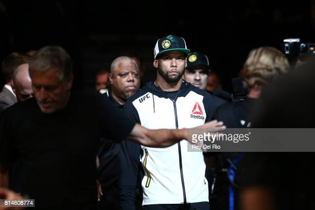 Thiago Santos enters the Octagon before facing Gerald Meerschaert in their middleweight bout during the UFC 213 event at TMobile Arena on July 9 2017...