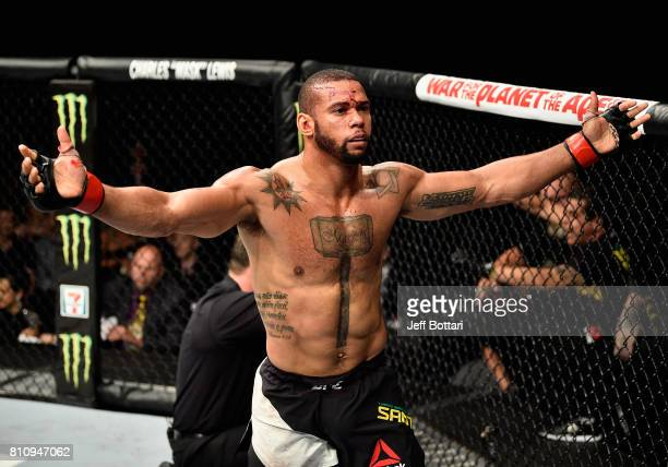 Thiago Santos of Brazil celebrates his TKO victory over Gerald Meerschaert in their middleweight bout during the UFC 213 event at TMobile Arena on...