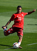 Thiago shoots on goal during a training session at day six of the Bayern Muenchen training camp at Aspire Academ on January 11 2016 in Doha Qatar