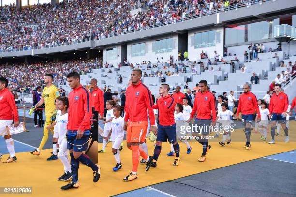 Thiago Silva Alphonse Areola Marco Verratti and Marquinhos of PSG during the Champions Trophy match between Monaco and Paris Saint Germain at Stade...