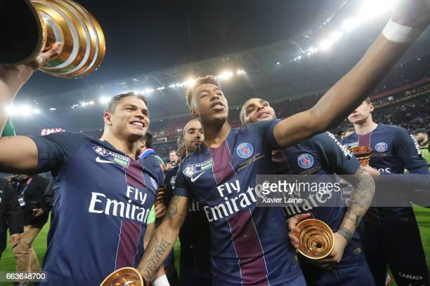 Thiago Silva and Presnel Kimpembe of Paris SaintGermain celebrate the victory after the French League Cup Final match between Paris SaintGermain and...