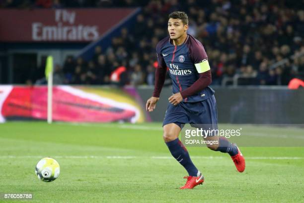 Thiago Silva in action during the French Ligue 1 soccer match between Paris Saint Germain and FC Nantes at Parc des Princes