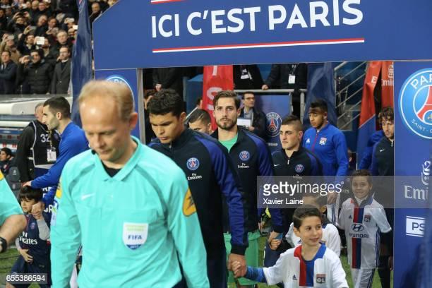Thiago Silva Kevin Trapp and Marco Verratti of Paris SaintGermain before the French Ligue 1 match between Paris Saint Germain and Lyon OL at Parc des...