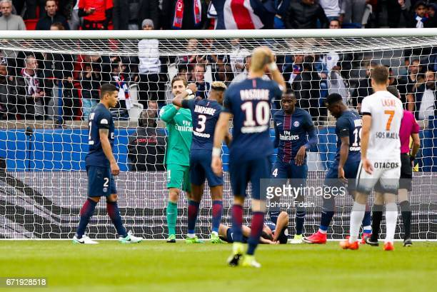 Thiago Silva Kevin Trapp and Presnel Kimpembe of Paris Saint Germain during the French Ligue 1 match between Paris Saint Germain and Montpellier...