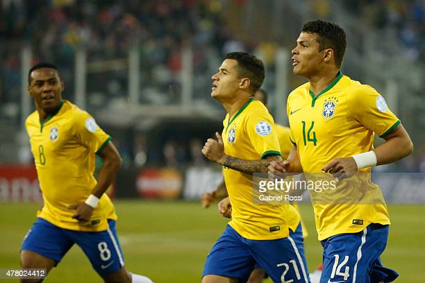 Thiago Silva of Brazil celebrates after scoring the opening goal during the 2015 Copa America Chile Group C match between Brazil and Venezuela at...