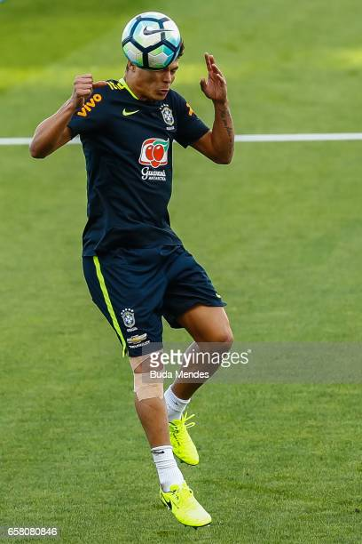 Thiago Silva of Brazil controls the ball during a training session at Arena Corinthians on March 26 2017 in Sao Paulo Brazil