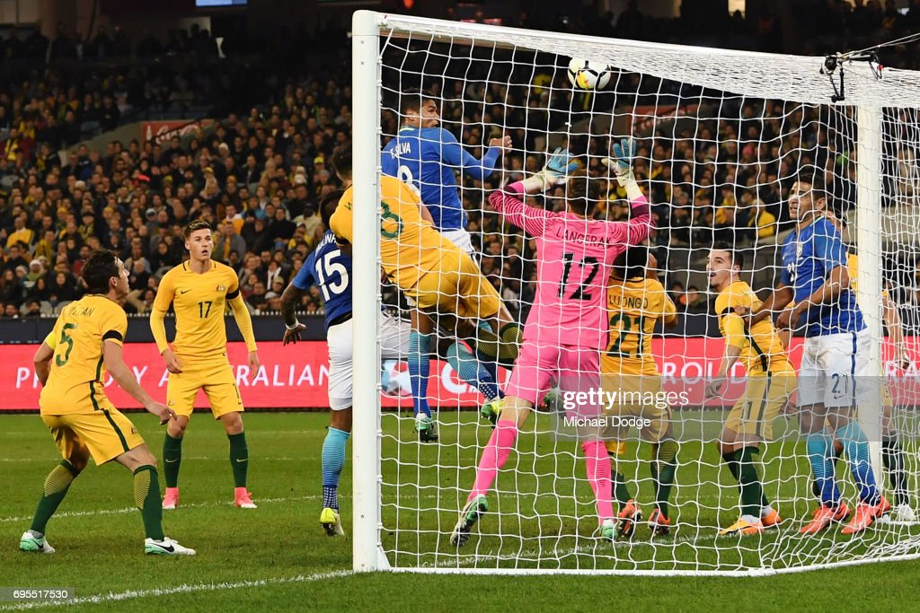 Thiago Silva of Brazil heads the ball for a goal with teammates during the Brasil Global Tour match between Australian Socceroos and Brazil at Melbourne Cricket Ground on June 13, 2017 in Melbourne, Australia.