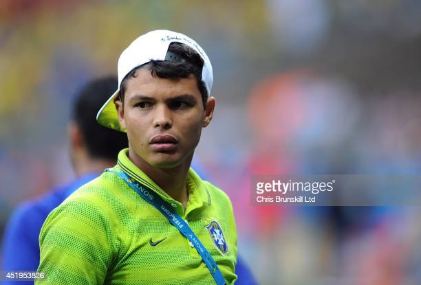 Thiago SIlva of Brazil looks on ahead of the 2014 FIFA World Cup Brazil Semi Final match between Brazil and Germany at Estadio Mineirao on July 08...