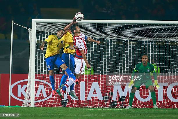 Thiago Silva of Brazil plays the ball with his hand in the box during the 2015 Copa America Chile quarter final match between Brazil and Paraguay at...